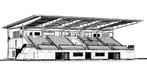 Tully Grandstand - Wireframe Drawing